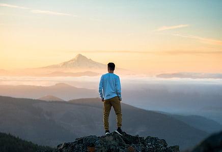 people, man, back, mountain, peak, summit, adventure