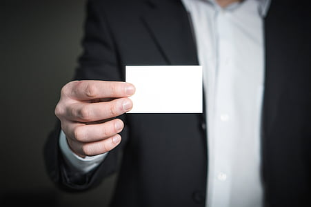 business card, business, card, man, holding, hand, suit