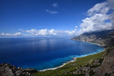 облака, побережье, HD обои, Горизонт, пейзаж, Природа, океан