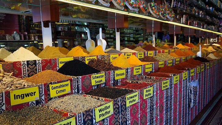 vürtsid, maitseained, kauplus, toidu, pipar, koostisosad, maitse
