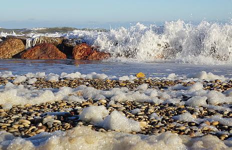 zee, schuim, Golf, strand, natuur, kustlijn, water