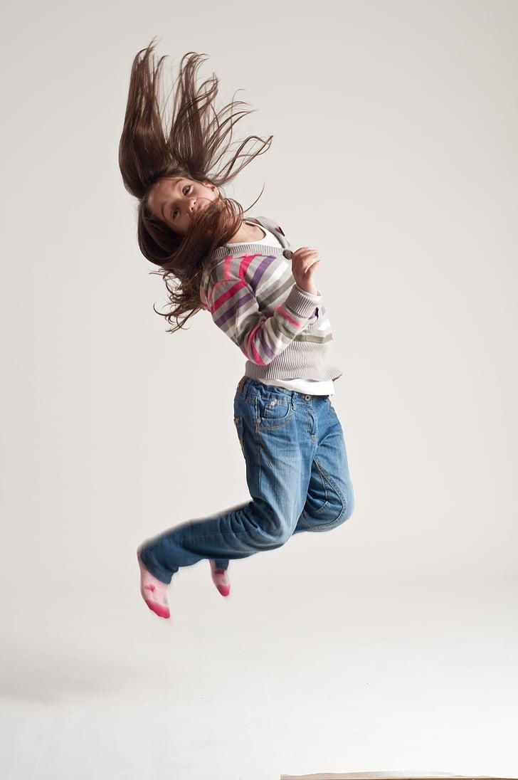 hoppe, barn, moro, aktiv, fritid, hopping, bevegelse