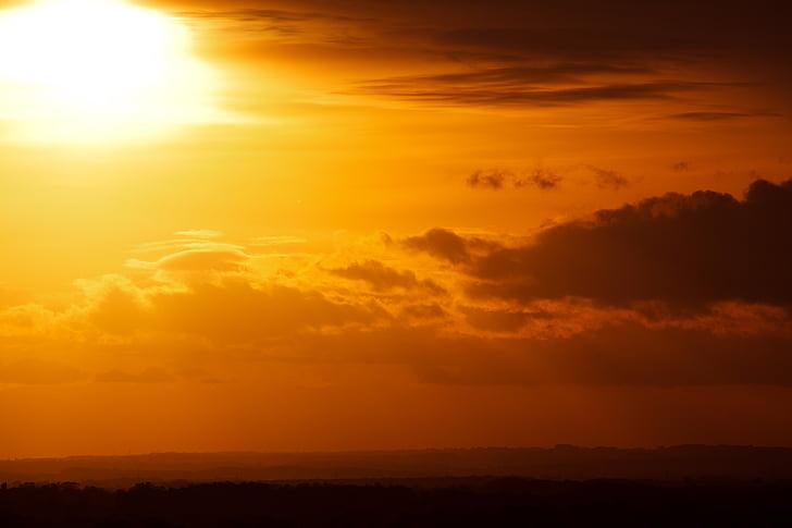 Vacker, molnet, moln, färg, dramatiska, skymning, kvällen