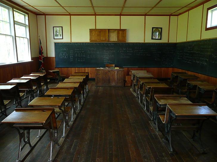 steinbach, менонітів село спадщини, Манітоба, Канада, школа зал, класі, дерев'яні