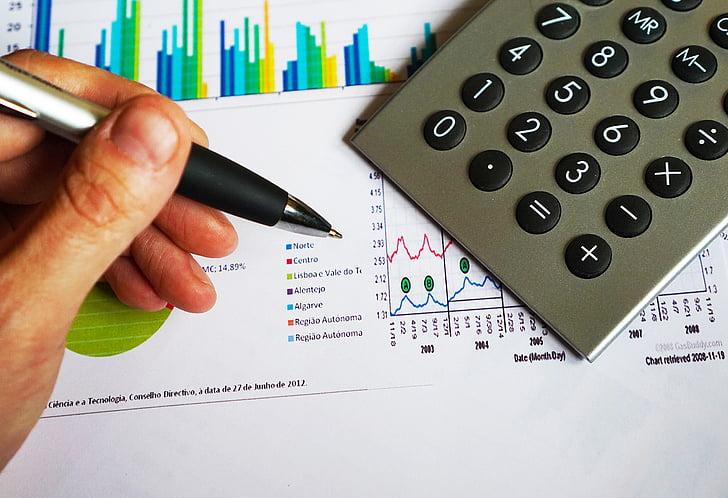 Balance, entreprise, Calculatrice, Tableau, composition, calcul, données