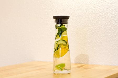 desintoxicação, água, jarra de vidro, bebida, limão, limão, pepino