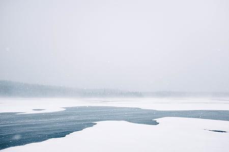 แช่แข็ง, แม่น้ำ, ทะเลสาบ, น้ำแข็ง, ฤดูหนาว, เย็น, หิมะตก
