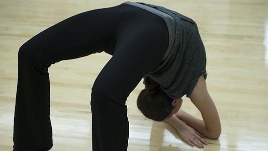 femella, flexible, flexibilitat, gimnàs, del Caucas, l'exercici, esport