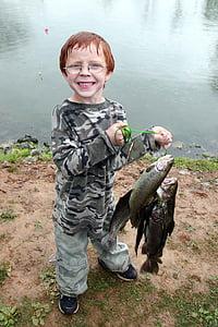 catch, fish, holding, proudly, fishing, glasses, boy