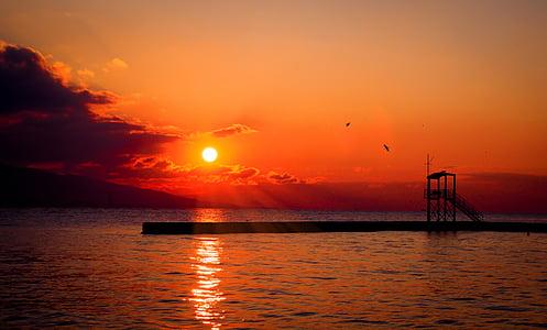 sol, posta de sol, vermell, l'estiu, natura, cel, oceà