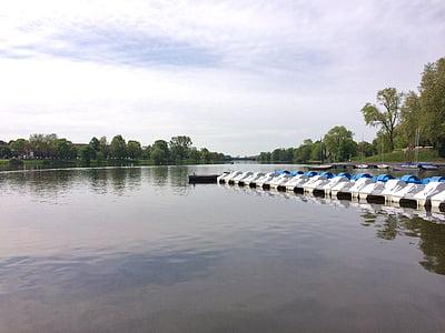 озеро, aasee, педаль човни, Весна, Мюнстері, Вестфалія, задоволення