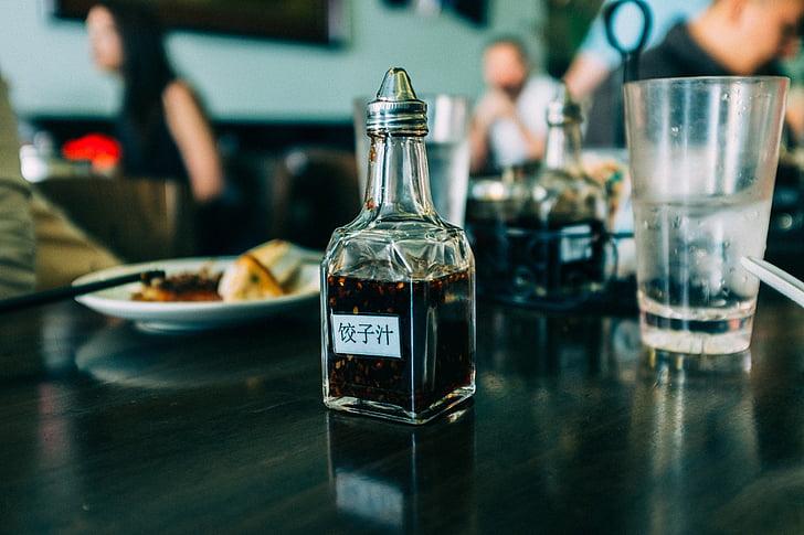 taula, Restaurant, condiments, vidre, l'aigua, aliments, postres