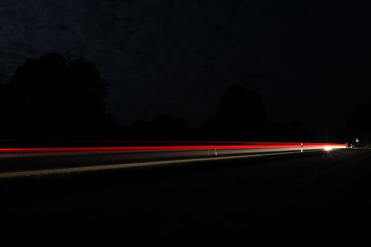 carretera, exposició prolongada, llums, vermell, trànsit, nit, Centre d'atenció