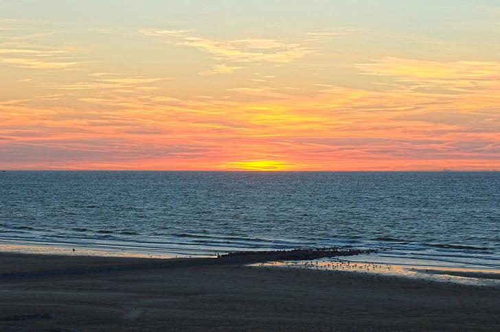 posta de sol, Mar, platja, posta de sol de color, vacances, veure, marca