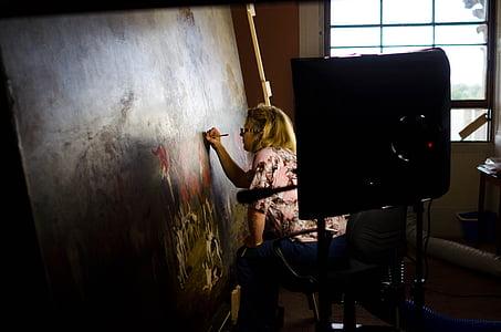ผู้หญิง, ภาพวาด, ศิลปะ, หญิง, ผืนผ้าใบ, สี, ศิลปินวาดภาพ