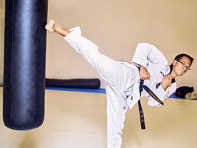 Taekwondo, lluita, Caixa, puntada, cama, esport, l'exercici