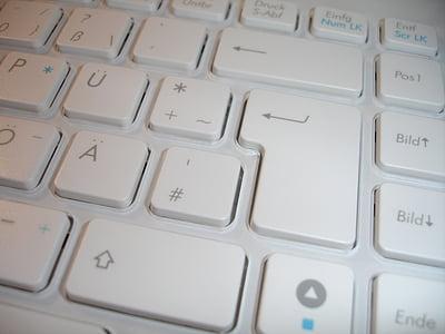 keyboard, chiclet keyboard, keys, input device, periphaerie, white, computer