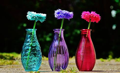 vaser, glas, farverige, blomster, dekoration, dekorative glas, Deco