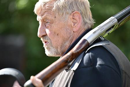 ember, régebbi, puska, ráncok, romboló, nyugdíjas