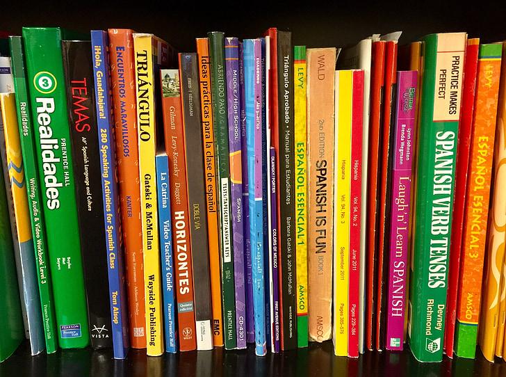 books, bookshelf, textbooks, spanish, language, school, shelf
