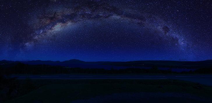 Šotimaa, maastik, taevas, Highlands, öö, tähed, Linnutee