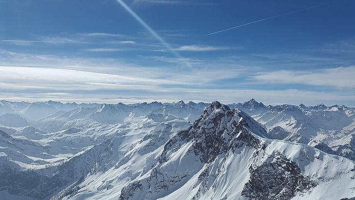 töötlemata sarv, Alpine, : Tannheimer mäed, mägi, Allgäu, tippkohtumine, kivine