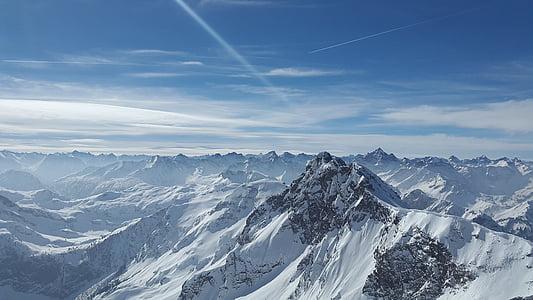 grov horn, alpint, tannheimer fjell, fjell, Allgäu, toppmøtet, steinete