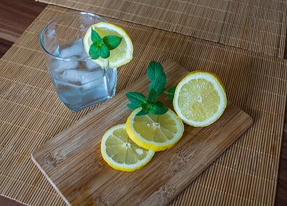 レモン, 柑橘系の果物, サワー, 健康的です, アイス キューブ, 夏, リフレッシュメント