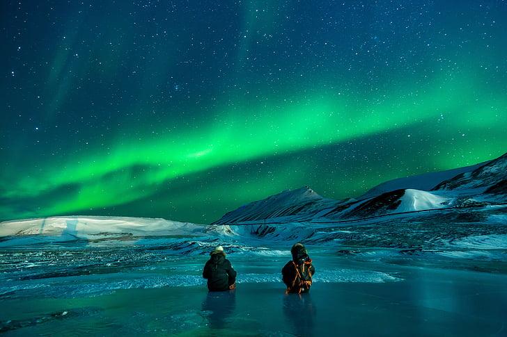 Aurora, Severní polární záře, sníh, Nothern světla, modrá hvězdná obloha, Aljaška, polární světla