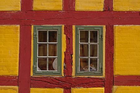 truss, fachwerkhaus, hjem, gamlebyen, gamle, bygge, historisk