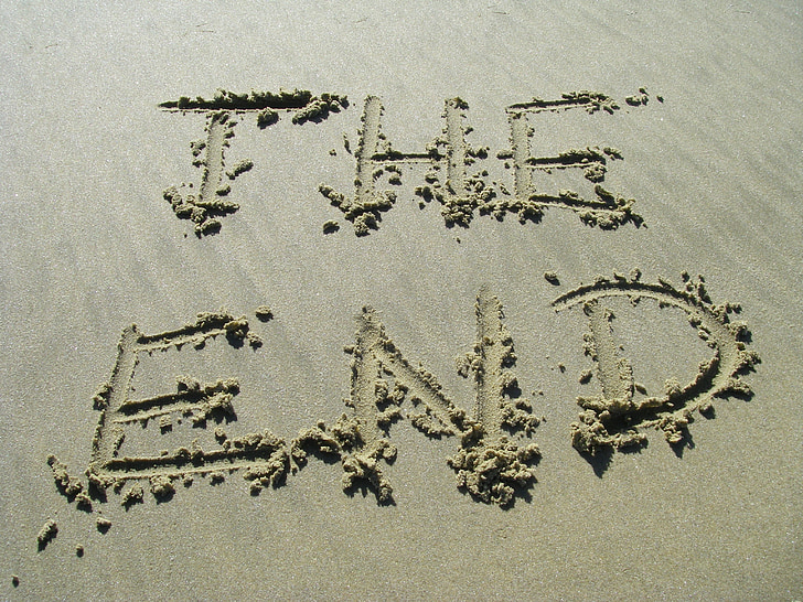 the end, sand, end, beach, text