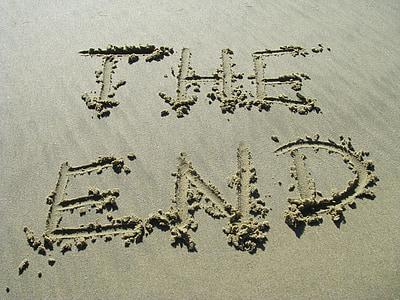 Het einde, zand, einde, strand, tekst