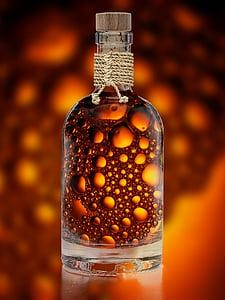 bottiglia, bere, rinfresco, bolla, colpo, alcol, vetro bevente