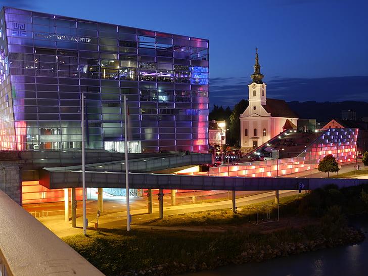 linz, building, night, architecture, lighting, city, illuminated