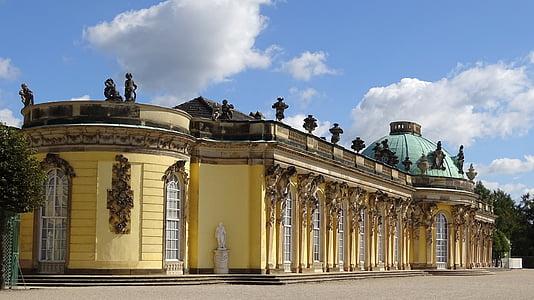 Потсдам, Замок, Визначні пам'ятки, Історично, Будівля, Німеччина, Сансусі