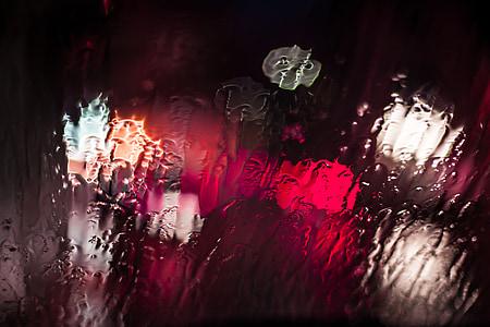 vidre, pluja, l'aigua, bokeh, Unsharp, washy, temps