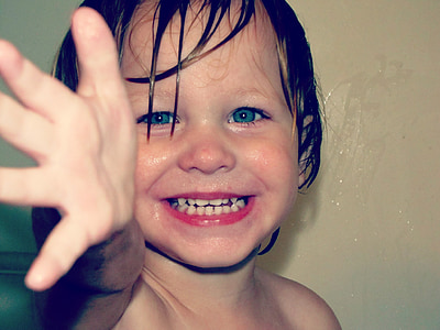 boy, face, happy, smile, bath time, young, child