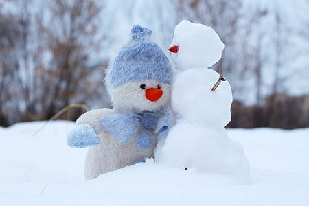 snowman, snow, two, winter, friends, new year's eve, holiday