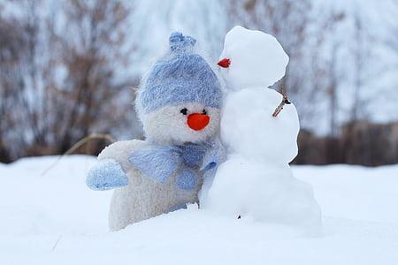 lumememm, lumi, kaks, talvel, sõbrad, vana-aasta õhtu, Holiday