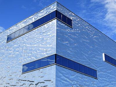 arhitektuur, hoone, kaasaegne, läikiv, metallik, fassaad, ehitatud struktuur