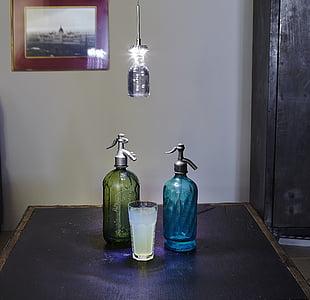 Làmpada, llum, ampolla, vidre, l'aigua, beguda, morta