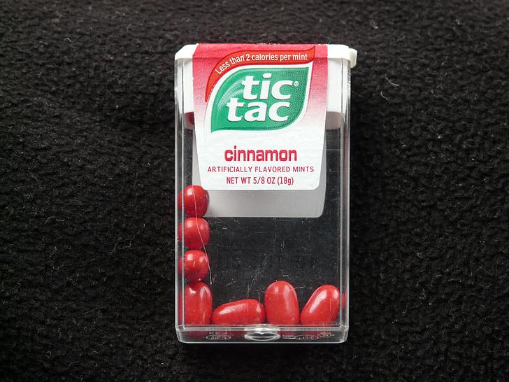 Tic tac, lutschdragées, Dražė, saldumas, raudona, Cinamonas, šviežia cinamono