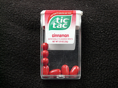 TIC tac, lutschdragées, dragees, magusus, punane, kaneeli, värske kaneeli