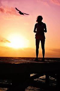 kvinna, siluett, soluppgång, stranden, solnedgång, havet, naturen