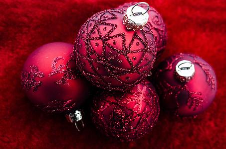 Natal, Xmas, dekorasi, merah, musim, liburan, Desember