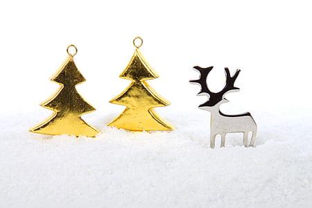 metallo, albero, alberi, celebrazione, Natale, decorazione, Vacanze