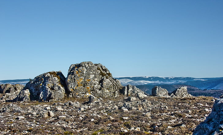 Cévennes, Rock, Mountain, Rocks, toppmötet, Sky, naturen