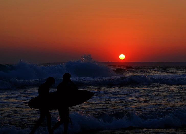 szörfös, Beach, hullám, férfiak, Surf, tenger, szörfdeszka