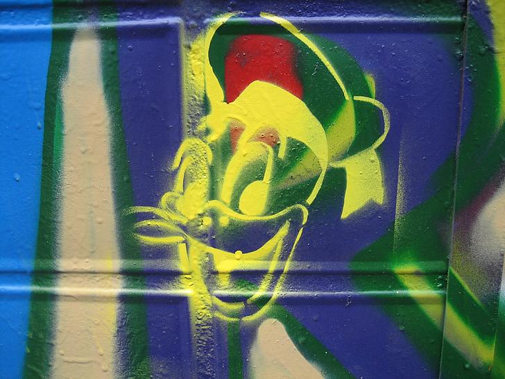 Graffitti, art de la rue, Donald, modèle, peinture murale, pulvérisation