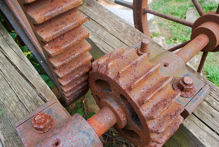 del engranaje, piñón, moho, metal, rueda dentada, mecánica, montado